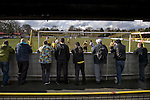 Southport fans behind the goal in the first half watching their team taking on Harrogate Town at Wetherby Road, Harrogate. The Conference North match was won 3-2 by Southport, a result which kept the Sandgrounders on course for top spot in the division while Harrogate Town remained bottom.