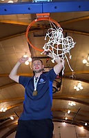 St Kentigern coach Aaron Young snips the basket after winning the 2019 Schick AA Boys' Secondary Schools Basketball National Championship final between St Kentigern and Rosmini College at the Central Energy Trust Arena in Palmerston North, New Zealand on Saturday, 5 October 2019. Photo: Dave Lintott / lintottphoto.co.nz