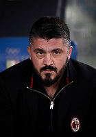 Football Soccer: Tim Cup semi-final second Leg, SS Lazio vs AC Milan, Stadio Olimpico, Rome, Italy, February 28, 2018.<br /> Milan's coach Gennaro Gattuso waits for the start of the Tim Cup semi-final football match between SS Lazio vs AC Milan, at Rome's Olympic stadium, February 28, 2018.<br /> UPDATE IMAGES PRESS/Isabella Bonotto