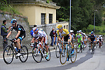 The lead riders including Wouter Poels (NED) Team Sky, Daniel Moreno Fernandez (ESP) Katusha and George Bennett (NZL) Lotto NL-Jumbo tackle the final climb of Superga near the finish of the 2015 96th Milan-Turin 186km race starting at San Giuliano Milanese, Italy. 1st October 2015.<br /> Picture: Eoin Clarke | Newsfile