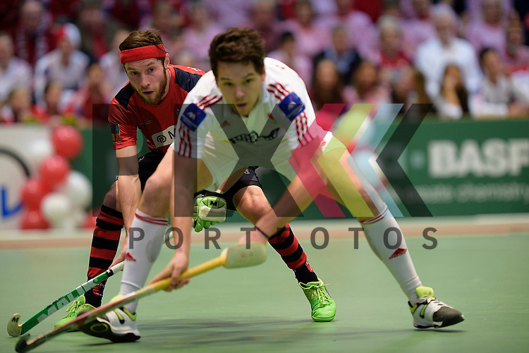GER - Luebeck, Germany, February 06: During the 1. Bundesliga Herren indoor hockey semi final match at the Final 4 between Berliner HC (red) and Rot-Weiss Koeln (white) on February 6, 2016 at Hansehalle Luebeck in Luebeck, Germany. Final score 2-3 (HT 6-10).  Martin Zwicker #23 of Berliner HC<br /> <br /> Foto &copy; PIX-Sportfotos *** Foto ist honorarpflichtig! *** Auf Anfrage in hoeherer Qualitaet/Aufloesung. Belegexemplar erbeten. Veroeffentlichung ausschliesslich fuer journalistisch-publizistische Zwecke. For editorial use only.