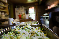 Broccoli Devan sits waiting to bake in Lida Kaiser's kitchen at the Hamilton Club in Morris Run, PA.