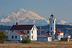 Jefferson County, WA      <br /> Point Wilson Lighthouse on the Quimper Peninsula with Mount Baker in the background