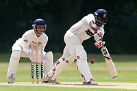 A Zaidi in batting action for Ilford as J Das looks on from behind the stumps during Wanstead and Snaresbrook CC vs Ilford CC, Shepherd Neame Essex League Cricket at Overton Drive on 17th June 2017