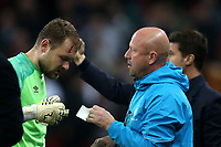 Jeroen Zoet of PSV Eindhoven is treated for a cut head during Tottenham Hotspur vs PSV Eindhoven, UEFA Champions League Football at Wembley Stadium on 6th November 2018