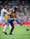 Jose Luis Gaya Pena (r) of Valencia CF fights for the ball with Daniel Carvajal Ramos of Real Madrid during their La Liga 2017-18 match between Real Madrid and Valencia CF at the Estadio Santiago Bernabeu on 27 August 2017 in Madrid, Spain. Photo by Diego Gonzalez / Power Sport Images