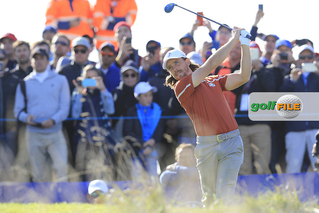 Tommy Fleetwood (Team Europe) tees off the 10th hole during Saturday's Foursomes Matches at the 2018 Ryder Cup 2018, Le Golf National, Ile-de-France, France. 29/09/2018.<br /> Picture Eoin Clarke / Golffile.ie<br /> <br /> All photo usage must carry mandatory copyright credit (© Golffile | Eoin Clarke)