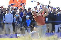 Tommy Fleetwood (Team Europe) tees off the 10th hole during Saturday's Foursomes Matches at the 2018 Ryder Cup 2018, Le Golf National, Ile-de-France, France. 29/09/2018.<br /> Picture Eoin Clarke / Golffile.ie<br /> <br /> All photo usage must carry mandatory copyright credit (&copy; Golffile | Eoin Clarke)