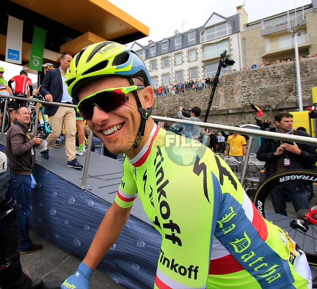 Rafal Majka (POL) Tinkoff tat sign on before the start of Stage 3 of the 2016 Tour de France, running 223.5km from Granville to Angers, France . 4th July 2016.<br /> Picture: Eoin Clarke | Newsfile<br /> <br /> <br /> All photos usage must carry mandatory copyright credit (&copy; Newsfile | Eoin Clarke)