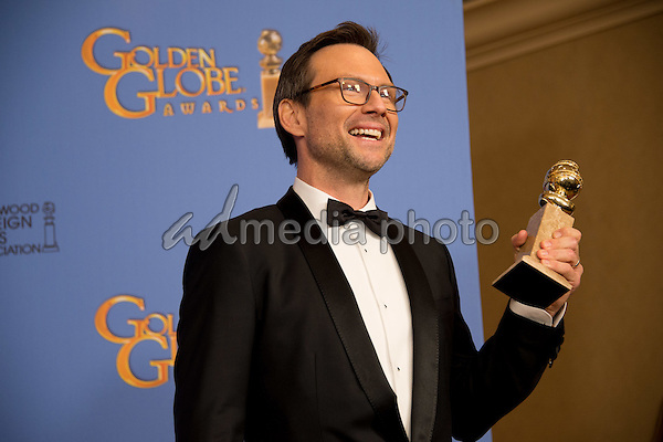 "After winning the category of BEST PERFORMANCE BY AN ACTOR IN A SUPPORTING ROLE IN A SERIES, MINI-SERIES OR MOTION PICTURE MADE FOR TELEVISION for his role in ""Mr. Robot,"" actor Christian Slater poses backstage in the press room with his Golden Globe Award at the 73rd Annual Golden Globe Awards at the Beverly Hilton in Beverly Hills, CA on Sunday, January 10, 2016. Photo Credit: HFPA/AdMedia"