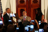 US President Barack Obama listens to Lonnie Bunch, the director of the Smithsonian National Museum of African American History and Culture,  delivering remarks at the reception in honor of the opening of the museum in the Grand Foyer of the White House September 22, 2016, Washington, DC. <br /> Credit: Aude Guerrucci / Pool via CNP /MediaPunch