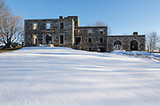 Remains of the Goddard Mansion during the winter months. Located at Fort Williams Park in Cape Elizabeth, Maine USA,  which is part of the New England seacoast.  .Notes: The mansion was built in 1858 for Col. John Goddard
