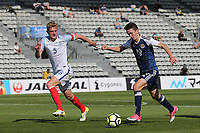 Jordan Holsgrove of Scotland takes on England's Joe Worrall during England Under-18 vs Scotland Under-20, Toulon Tournament Semi-Final Football at Stade Parsemain on 8th June 2017