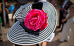 LOUISVILLE, KY - MAY 03: A woman wears a fancy hat for  Thurby Day at Churchill Downs on May 3, 2018 in Louisville, Kentucky. (Photo by Scott Serio/Eclipse Sportswire/Getty Images)