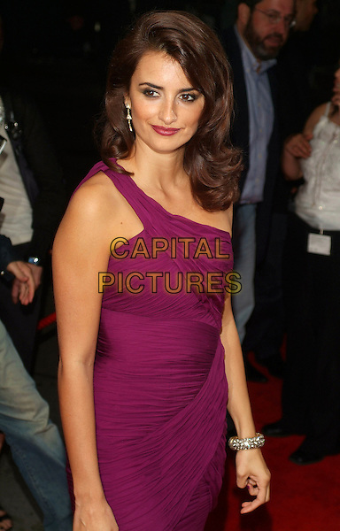 "PENELOPE CRUZ.Attends ""Volver"" Screening at the 2006 Toronto International Film Festival  held at Roy Thomson Hall, Toronto, Ontario, Canada, 08 September 2006..half length purple dress one shoulder strap diamond bracelet earrings .Ref: ADM/BP.www.capitalpictures.com.sales@capitalpictures.com.©Brent Perniac/AdMedia/Capital Pictures."