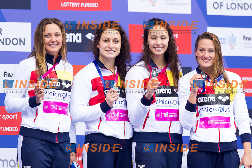 Team SPAIN silver medal<br /> London, Queen Elizabeth II Olympic Park Pool <br /> LEN 2016 European Aquatics Elite Championships <br /> Swimming<br /> Women's 4x200m freestyle final  <br /> Day 11 19-05-2016<br /> Photo Giorgio Perottino/Deepbluemedia/Insidefoto