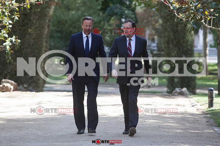 Spanish Prime Minister Mariano Rajoy receives British Prime Minister David Cameron at Moncloa Palace in Madrid, Spain. Spetember 04, 2015. (ALTERPHOTOS/Victor Blanco)