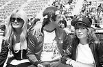 Valerie Perrine, sonny Bono and Penny Marshall attend a Celebrity Charity Tennis Tournament at Long Island City on May 17, 1981 in New York City.