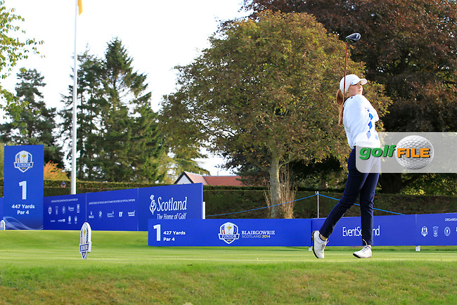 Mathilda Capelliez (FRA) on the 1st tee during Day 2 Singles for the Junior Ryder Cup 2014 at Blairgowrie Golf Club on Tuesday 23rd September 2014.<br /> Picture:  Thos Caffrey / www.golffile.ie