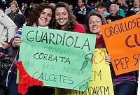 BARCELONA, ESPANHA, 05 MAIO 2012 - CAMP. ESPANHOL - BARCELONA X ESPANYOL -  Torcedoras do Barcelona durante partida contra o Espanyol em partida valida pela 37 Rodada do Campeonato Espanhol, no estadio Camp Nou em Barcelona na Espanha. (FOTO: VANESSA CARVALHO / BRAZIL PHOTO PRESS).