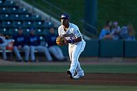 Winston-Salem Dash third baseman Yeyson Yrizarri (2) on defense against the Wilmington Blue Rocks at BB&T Ballpark on April 16, 2019 in Winston-Salem, North Carolina. The Blue Rocks defeated the Dash 4-3. (Brian Westerholt/Four Seam Images)