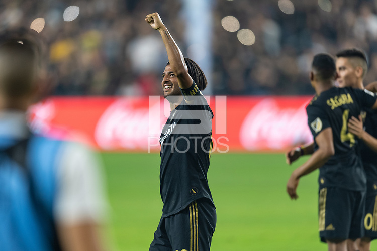 Los Angeles, CA - October 24, 2019.  Carlos Vela celebrates LAFC's defeat of the Los Angeles Galaxy 5 - 3 in the Western Conference semifinal match at Banc of California stadium in Los Angeles.
