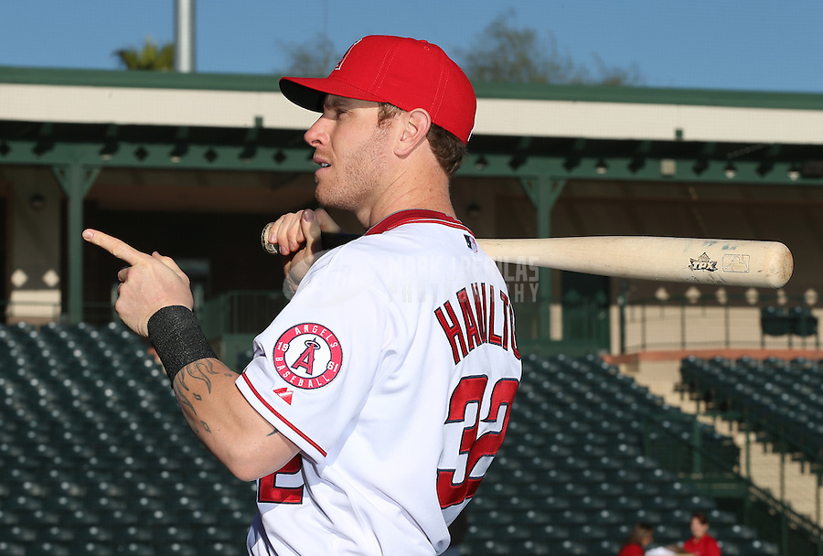 Feb. 21, 2013; Tempe, AZ, USA: Los Angeles Angels outfielder Josh Hamilton poses for a portrait during photo day at Tempe Diablo Stadium. Mandatory Credit: Mark J. Rebilas-