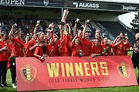 20180526 - Eupen , BELGIUM : Standard's team pictured during the winner celebration of the final of Belgian cup 2018 , a soccer women game between KRC Genk Ladies and Standard Femina de Liege  , in the  Kehrweg stadion in Eupen , saturday 26 th May 2018 . PHOTO SPORTPIX.BE   DIRK VUYLSTEKE