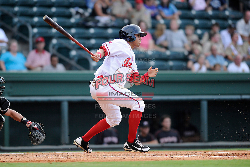 Center fielder Jesus Loya (17) of the Greenville Drive in a game against the Kannapolis Intimidators on Monday, August 5, 2013, at Fluor Field at the West End in Greenville, South Carolina. Kannapolis won, 3-0. (Tom Priddy/Four Seam Images)
