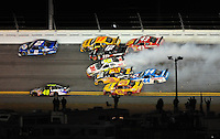 Feb 07, 2009; Daytona Beach, FL, USA; NASCAR Sprint Cup Series driver Greg Biffle (16) spins in the middle of the field during the Bud Shootout at Daytona International Speedway. Mandatory Credit: Mark J. Rebilas-