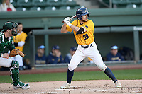 Center fielder Michael Jamele (36) of the Merrimack Warriors bats in a game against the Michigan State Spartans on Saturday, February 22, 2020, at Fluor Field at the West End in Greenville, South Carolina. The Spartans catcher is Scott Combs (35). Merrimack won, 7-5. (Tom Priddy/Four Seam Images)