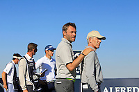 Norbert and Pierre-Henri Dentressangle (AM) a farther &amp; son pairing on the 8th tee during Round 1 of the 2015 Alfred Dunhill Links Championship at Kingsbarns in Scotland on 1/10/15.<br /> Picture: Thos Caffrey | Golffile