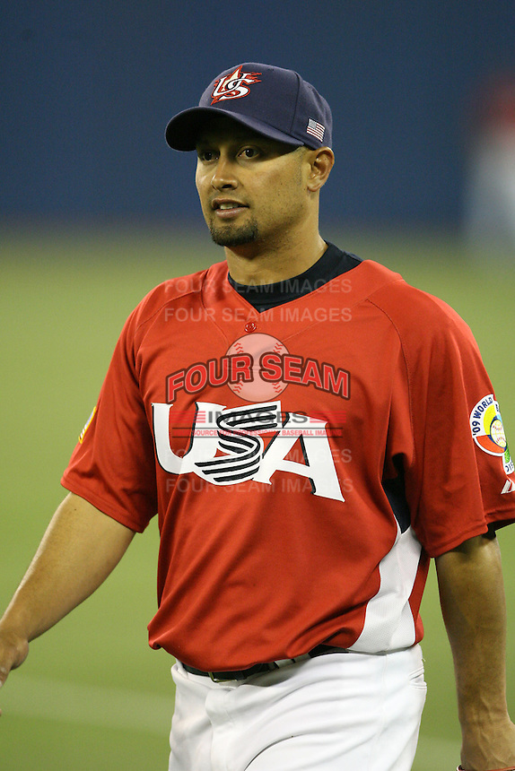 March 6, 2009:  Right fielder Shane Victorino (50) of Team USA during the first round of the World Baseball Classic at the Rogers Centre in Toronto, Ontario, Canada.  Team USA defeated Canada 6-5 in both teams opening game of the tournament.  Photo by:  Mike Janes/Four Seam Images