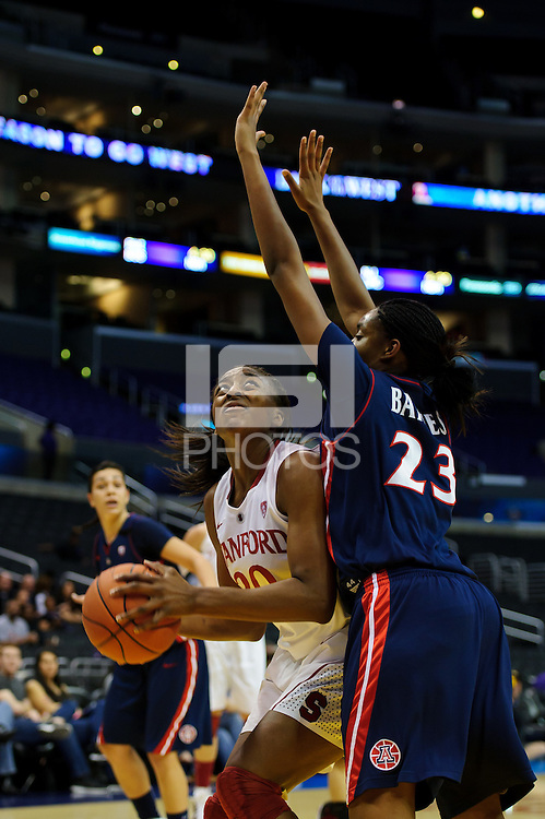LOS ANGELES, CA - March 11, 2011:  Stanford's Nnemkadi Ogwumike during the semi-final game of the 2011 Pac-10 Tournament game against the Arizona Wildcats at Staples Center.  Stanford won, 100-71.  Ogwumike led all scorers with 32 points and had 10 rebounds.