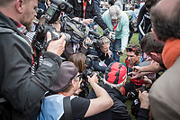 Last years winner Greg Van Avermaet (BEL/BMC) post race after finishing. Lots of press attention. <br /> <br /> 116th Paris-Roubaix (1.UWT)<br /> 1 Day Race. Compiègne - Roubaix (257km)