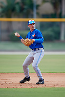 Toronto Blue Jays third baseman Nick Podkul (28) throws to first base during a Florida Instructional League game against the Pittsburgh Pirates on September 20, 2018 at the Englebert Complex in Dunedin, Florida.  (Mike Janes/Four Seam Images)