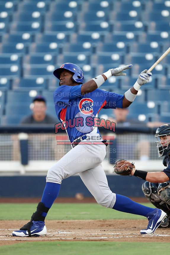 Jorge Soler #24 of the AZL Cubs bats against the AZL Brewers at Maryvale Baseball Park on July 23, 2012 in Phoenix, Arizona. Cubs defeated Brewers 7-3. (Larry Goren/Four Seam Images)