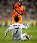 Cristiano Ronaldo vies with Seydu Keita during the Spanish league football match Real Madrid CF vs Valencia CF at the Santiago Bernabeu stadium in Madrid on May 4, 2014. PHOTOCALL3000/