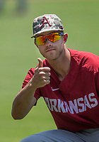 NWA Democrat-Gazette/BEN GOFF @NWABENGOFF<br /> Arkansas takes their turn on the field Friday, June 8, 2018, during practice for the NCAA Fayetteville Super Regional at Baum Stadium.