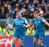 12th January 2020; RDS Arena, Dublin, Leinster, Ireland; Heineken Champions Champions Cup Rugby, Leinster versus Lyon Olympique Universitaire; Sean Cronin (Leinster) celebrates scoring a try - Editorial Use