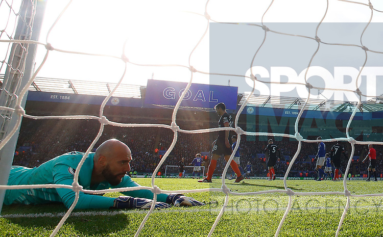 Willy Caballero of Chelsea reacts after Harvey Barnes of Leicester City scores during the Premier League match at the King Power Stadium, Leicester. Picture date: 1st February 2020. Picture credit should read: Darren Staples/Sportimage