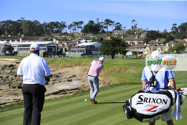 Dermot Desmond (IRL) tees off the 18th tee at Pebble Beach course during Friday's Round 2 of the 2018 AT&amp;T Pebble Beach Pro-Am, held over 3 courses Pebble Beach, Spyglass Hill and Monterey, California, USA. 9th February 2018.<br /> Picture: Eoin Clarke | Golffile<br /> <br /> <br /> All photos usage must carry mandatory copyright credit (&copy; Golffile | Eoin Clarke)