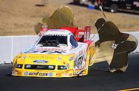 Jul. 25, 2009; Sonoma, CA, USA; NHRA funny car driver Ashley Force Hood during qualifying for the Fram Autolite Nationals at Infineon Raceway. Mandatory Credit: Mark J. Rebilas-