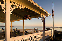 Surf hotel porch, sunrise, Block Island, RI