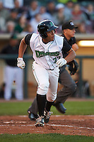Dayton Dragons first baseman Avain Rachal (22) runs to first during a game against the Great Lakes Loons on May 21, 2015 at Fifth Third Field in Dayton, Ohio.  Great Lakes defeated Dayton 4-3.  (Mike Janes/Four Seam Images)