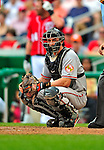 24 May 2009: Baltimore Orioles' catcher Chad Moeller looks back to the dugout for a sign during a game against the Washington Nationals at Nationals Park in Washington, DC. The Nationals rallied to defeat the Orioles 8-5 and salvage a win in their interleague series. Mandatory Credit: Ed Wolfstein Photo