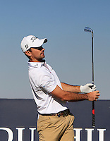 Gary Stal (FRA) on the 8th tee during Round 1 of the 2015 Alfred Dunhill Links Championship at Kingsbarns in Scotland on 1/10/15.<br /> Picture: Thos Caffrey | Golffile