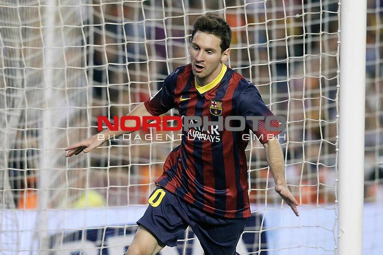 FC Barcelona's Leo Messi celebrates goal during La Liga match.September 1,2013. Foto © nph / Acero)