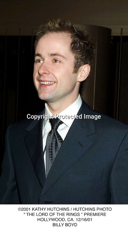 "©2001 KATHY HUTCHINS / HUTCHINS PHOTO."" THE LORD OF THE RINGS "" PREMIERE.HOLLYWOOD, CA. 12/16/01.BILLY BOYD"