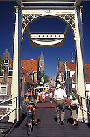 drawbridge, Holland, Edam, Netherlands, Noord-Holland, Europe, Pedestrian drawbridge crosses a canal in the city of Edam.